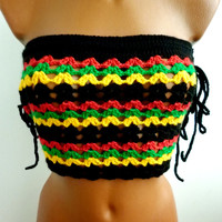 Rasta Summer Festival Top Corset Hippie Sexy Crochet Halter Top Fringes Crop Top Tank Art Bikini Top Bandeau Top Green Retro 55