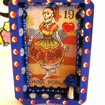 Blue Dia De Los Muertos Spanish Loteria - Nicho - Day Of The Dead Decoration