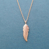 Feather, Leaf, Rose gold plated over sterling silver, Necklace, Birthday, Best friends, Sister, Gift, Jewelry
