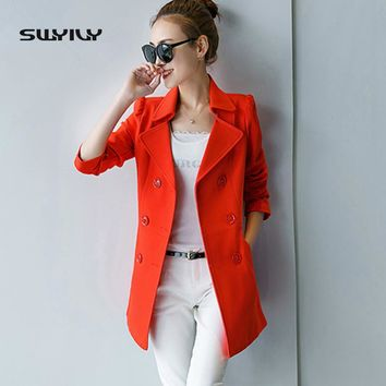 Double-Breasted Blazer Women Female New Spring 2017 Business Suit Jacket Lapel Long OL Coat Moda Mujer Blazers