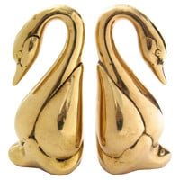 Brass Swan Bookends, S/2
