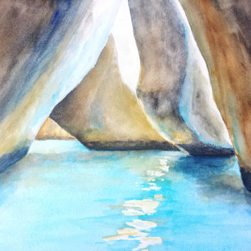 The Baths, Virgin Gorda, BVI, Original Watercolor, 12x16, British Virgin Islands, Blue Water, Cavern, Boulders, Cave, Landscape, Seascape