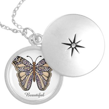 Leopard Butterfly Locket Necklace