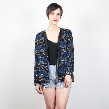 Vintage 1980s SEQUIN Jacket Draped Black Blue Gold Beaded Jacket 80s Sequin Blazer Beaded Blazer Glam Trophy Jacket S Small M Medium L