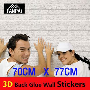 FANPAI PE Foam 3D Wall Papers Brick Pattern Waterproof Self-Adhesive Wallpaper Room Home Decor For Bedroom Living Room Stickers