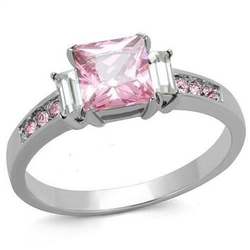 Stainless Steel 3 Stone CZ Ring