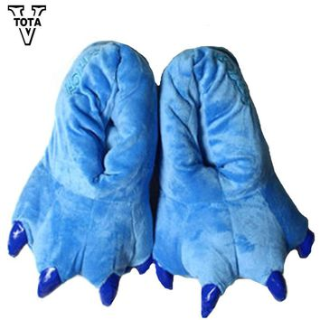VTOTA 11 Color Funny Animal Paw Unisex Slippers Women Cute Monster Claw Slippers Cartoon Soft Plush Warm Home Slippers