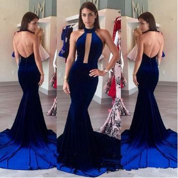 2017 New Halter Neck Backless Mermaid Prom Dresses High Neck Keyhole Velvet Vestidos De Fiesta Evening Formal Gowns
