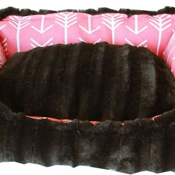Reversible Bumper Dog Bed Coral Arrow Small Small