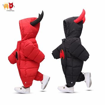 AD Baby White Duck Down Snow Wear Toddler's Parkas One-pieces Bodysuit Winter Rompers Clothing