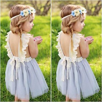 Kids Baby Girls Backless Lace Dress Pageant Party Formal Dress Casual Sundress