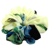 Light Lemon Yellow Floral Scrunchies for Hair Large Chiffon Fancy Accessories Headband Ponytail Holder Gifts for Teen Girls Women