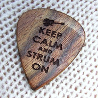 Keep Calm and Strum On - Handmade Laser Engraved Exotic Wood Guitar Pick - Caribbean Rosewood