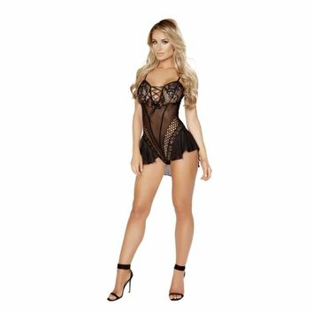 cee175249aa Elegant Teddy with Lace-Up Detail Lingerie