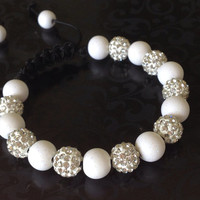 Shamballa Bracelet, White Polymer Clay Beads, 10mm White Crystal Pave Beads. Glitter Beads