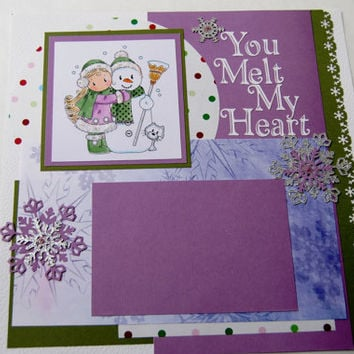 "Scrapbook Page ""You Melt My Heart"" - 12"" x 12"" Premade Double Pages, Display Family Photos, Fun in the Snow, Building a snowman"