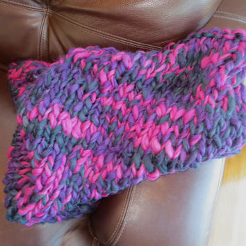 50x34 Super Chunky Hand Knit Wool Lap Blanket Throw