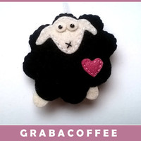BLACK sheep ornament - felt animals - felt ornaments - felt sheep - black sheep - baby shower - wool felt - eco friendly - gifts for him