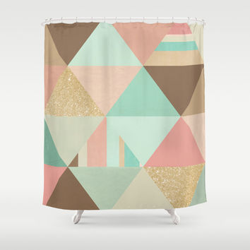 Peach, Mint and Gold Triangles Shower Curtain by Noonday Design
