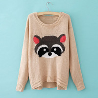 Relaxed Bear Print Long Sleeved Plus Size Sweater For Women