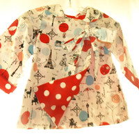 5T/6T Fully Lined Swing Coat with bow Paris and Polka Dots! Spring Coat Jacket