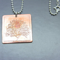 Copper Etched Tree Pendant Necklace