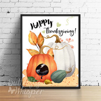 Happy Thanksgiving printable decor, Fall Pumpkin print, Autumn Thanksgiving wishful print, Rustic country decor, Farmhouse cat and mouse