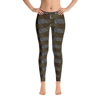 Africa Leggings for Women - Stylish Durable Novelty Leggings - Cut, Sewn, and Printed in California - Model 29043