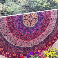 Jaipurhandloom Indian Circle of Flowers Purple Round Roundie Mandala Peacock Tapestry Wall Hanging Throw Beach Picnic Blanket Round Bed Sheet