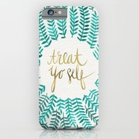 Treat Yo Self – Gold & Turquoise iPhone & iPod Case by Cat Coquillette