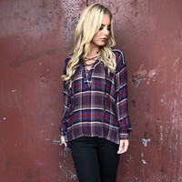 Cross The Line Plaid Blouse
