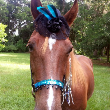 Black Victorian Fascinator / Mini Bowler Hat for Horse with Turquoise Feathers - Equine Tack Gothic Steampunk