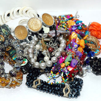 Junk Jewelry Lot #1 - Craft Jewelry Lot - Broken Jewelry Lot - Faceted Bracelet Lot - No Shipping Charge
