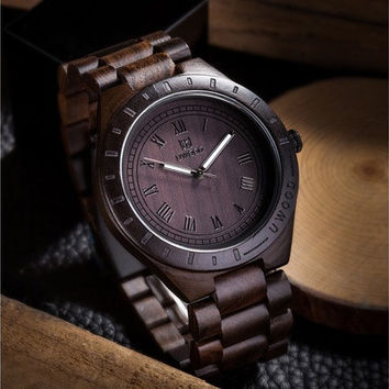 Uwood Luxury Natural Wood Wristwatch for Men Fashion Quartz Watch 3 Colors (Size: One Size, Color: Black brown) [8833612684]