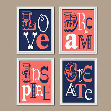 Coral Navy Blue Wall Art Girl Child Canvas Playroom Artwork Love Dream Inspire Create Life Quote Set of 4 Prints Decor Nursery Bedroom
