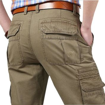 New Cargo Pants Men Cotton Tactical Trousers Men Work Mens Trousers Overall