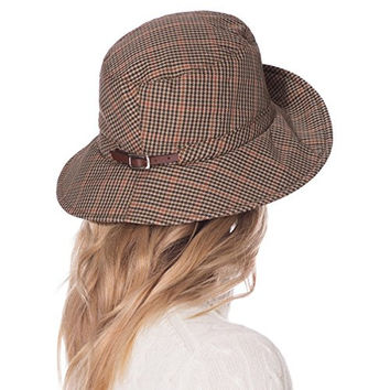 Eric Javits Designer Women's Head-wear Rain Bucket Hat (Tan Check)