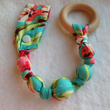 Bliss Tula snap teether, Bliss Tula Accessories, fabric teething toy, wood teething ring