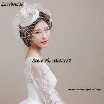 Whilesale Vintage Linen Lace Bridal Hats 2016 Hat wedding Veils Hair hoop for Brides Wedding Accessories wedding headpiece H0