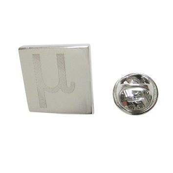 Silver Toned Etched Greek Letter Mu Lapel Pin