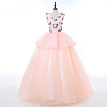 Candy Color Lace Appliques Evening Dress Sleeveless Tiered Ball Gown with Butterfly Pattern