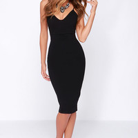 LULUS Exclusive Don't Tell 'Em Black Bodycon Midi Dress