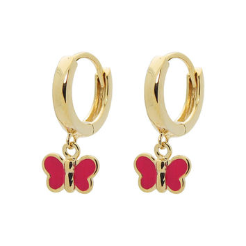 Girls Fuccia Enamel Butterfly Huggie Earrings