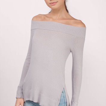 Don't Let Go Off Shoulder Waffle Knit Top