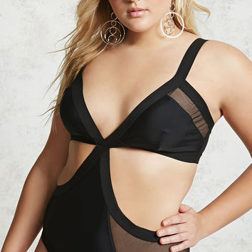 Plus Size Cutout Mesh Swimsuit