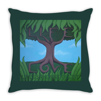 Love is the Root of Life - Throw Pillow of Acrylic Paint Fine Art