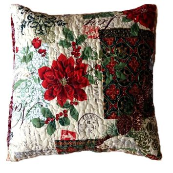 Festive the Holly and the Ivy Square Pillow Accent Cushion Covers Bright 2 Piece