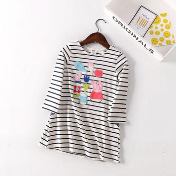 BAILIWEINI New  striped embroidery Pig cartoon Children's a-line girl dresses Spring autumn Long sleeve cotton Kids clothes