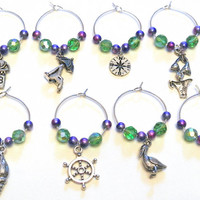 Beach Wine Charms- 8 Nautical Wine Glass Charms, Green and Purple Beads, Nautical Charms, Compass, Lighthouse, Shell