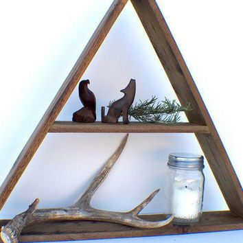 Geometric Reclaimed Wood Decor   Large 2 Shelf Triangle   Dark Walnut